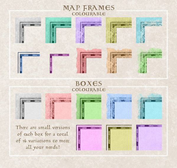 Map Frame & Box colourable example from full pack