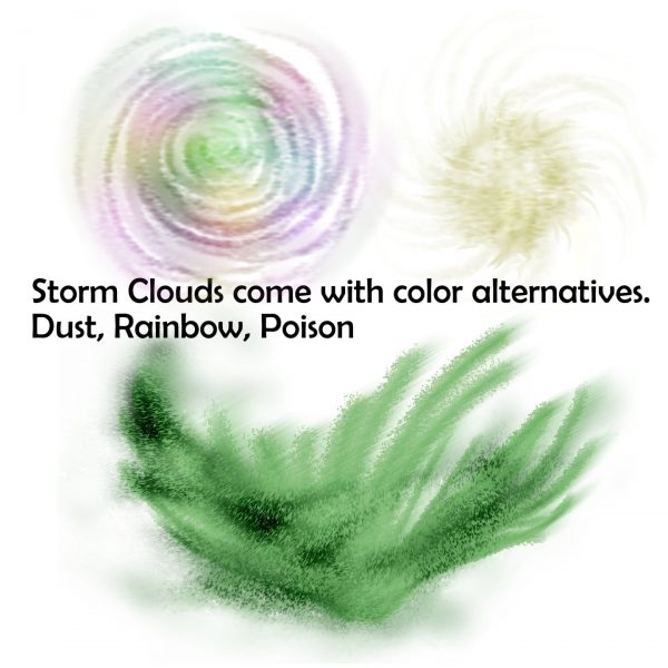 Color variations for storm clouds in rainbow, dust, and poison
