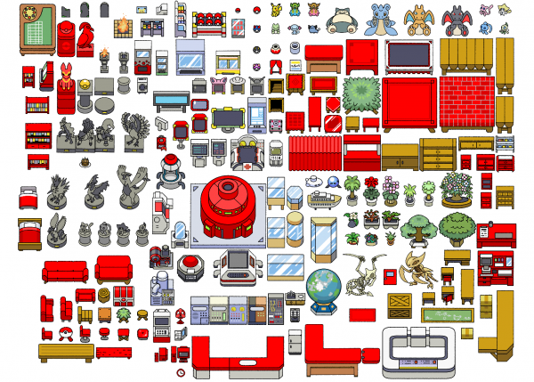 A preview containing every object featured in the Pokemon Indoor Objects asset pack.