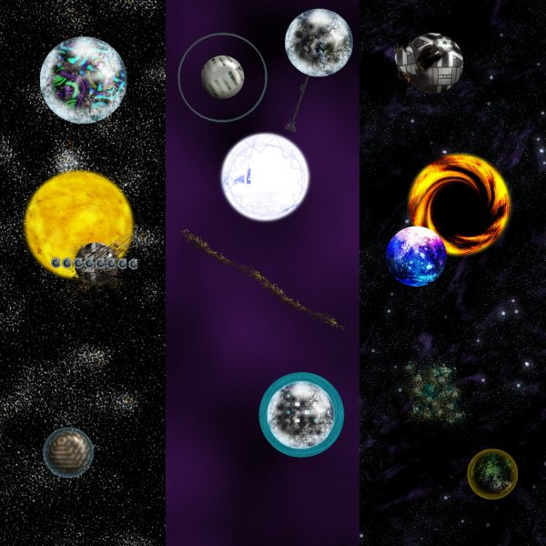Inhabited Solar System Maker with Technology, Celestial Objects, Starfields planets suns dyson sphere space elevator atmosphere rings add ons seamless star fields sci-fi science fiction scifi map making kit space map demo