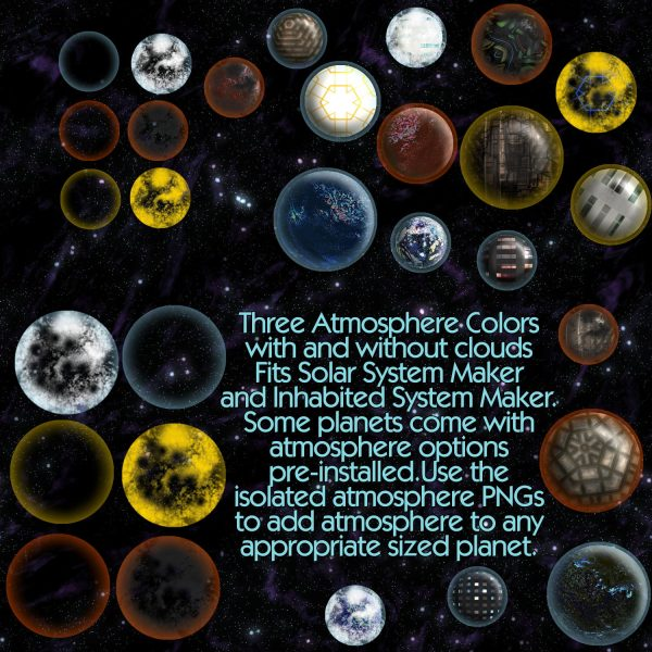 Inhabited Solar System Maker with Technology, Celestial Objects, Starfields planets suns dyson sphere space elevator atmosphere rings add ons seamless star fields sci-fi science fiction scifi map making ki atmosphere overlay demo