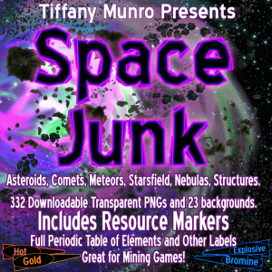 Space Junk asteroids nebulas meteors comets periodic table of elements mining labels for sci fi space opera game Tiffany Munro Feed the Multiverse map making assets