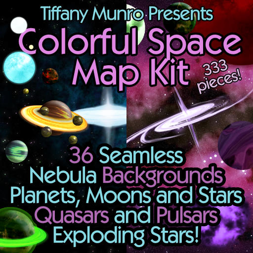 Colorful Space Kit with Planets, Suns, Moons, Rings, Seamless Nebula Starfields, Quasars and Pulsars